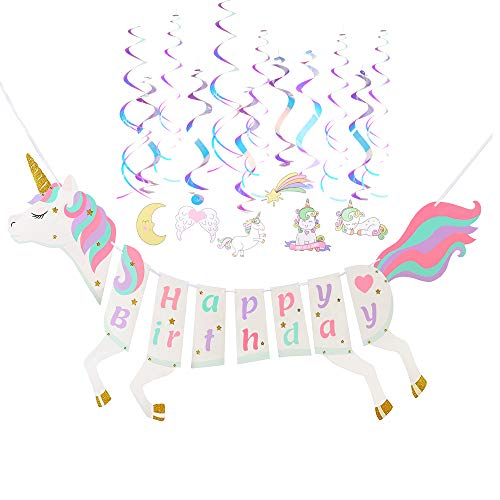 Unicorn Happy Birthday Banner,Party Supplies,80s 90s Birthday Party Favors Unicorn Swirl Decorations for Kids Adults Glitter