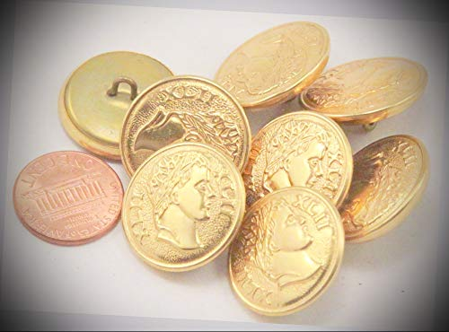 (JumpingLight 8 Gold Tone Puffed Metal Buttons XLII Roman Numerals Ancient Head 7/8'' 23mm 7025 Perfect for Crafts, Scrap-Booking, Jewelry, Projects, Quilts)
