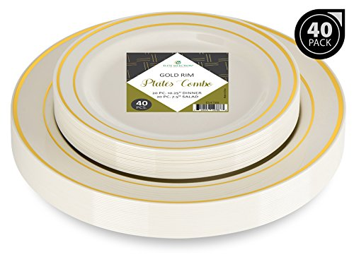 Elite Selection Set Of 40 Party Plastic Plates Gold Rim Includes 20 Dinner Plates 10.25'' And 20 Salad/Dessert Plates 7.5'' by Elite Selection