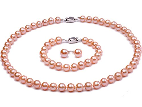 - JYX AAA 7-8mm Round Natural Pink Freshwater Pearl Necklace Bracelet Earring Set--AAA Quality