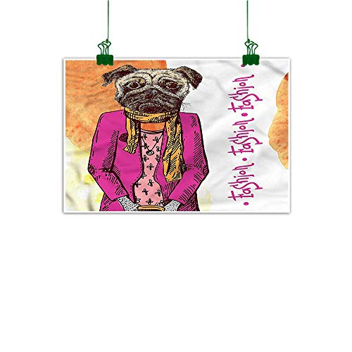 duommhome Fashion Stickers for Wall Pug Hand Painted Fashion Icon Scarf Jacket 32