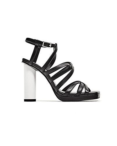 Zara Donna Sandalo pelle tacco contrasto 5453/201