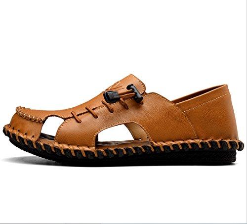ソースペルメルインタネットを見るメンズレザーサンダルファッション汗吸汗通気性二つの摩耗スリッパサンダル夏のアウトドアハイキング登山カジュアルな運転靴のサンダルZHANGM