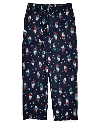 (Mens Navy Penguin Snowflake Flannel Sleep Pants Lounge Pants Pajama Bottoms XL)