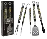 "Realtree Edge BBQ Grill Accessories, Includes 18"" Stainless Steel Tools: Spatula, Tongs, Fork, and Basting Brush, 4 Piece Set"