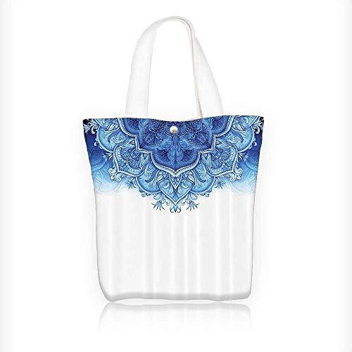 Ladies canvas tote bag oral Artwork Vintage Islamic Architecturalative Elements Oriental reusable shopping bag zipper handbag Print Design W11xH11xD3 INCH by Jiahonghome