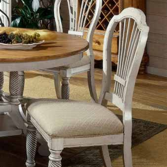 (Hillsdale Wilshire Fabric Dining Chair in Antique White (Set of 2))