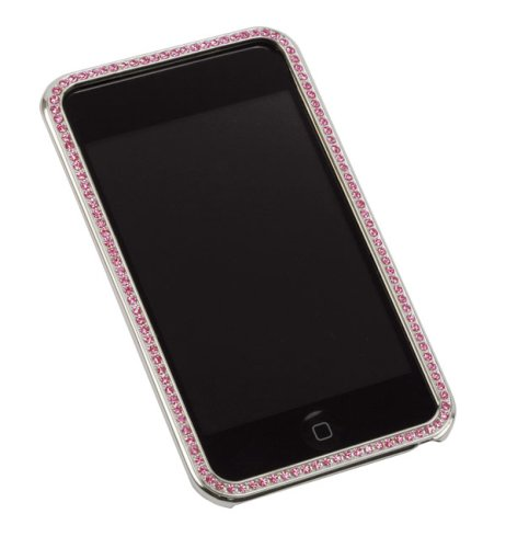 - Gilty Couture Silver-Plated Bezel Faceplate with Pink Swarovski Crystals for iPod touch 1G