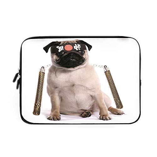 Pug Laptop Sleeve Bag,Neoprene Sleeve Case/Ninja Puppy with Nunchuk Karate Dog Eastern Warrior Inspired Costume Pug Image Decorative/for Apple MacBook Air Samsung Google Acer HP DELL Lenovo A ()