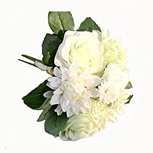 Bouquet of flowers - TOOGOO(R)Silk Flower 1 Bouquet Roses Dahlias Artificial Flowers Fall Vivid Fake Leaf Wedding Home Party Decoration champagne GF15538 22