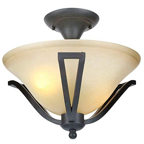 (Commercial Electric 13 in. 2-Light Rustic Iron Semi-Flush Mount with Antique Ivory Glass Shade)