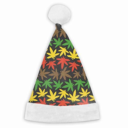 Santa Hat,Rasta Marihuana Ganja Weed Unisex Velvet Fabric Christmas Hat with Comfort Lining&Plush Brim -