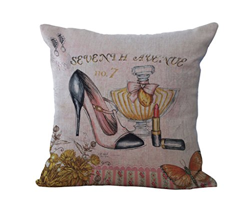 45*45cm Cotton Linen Cushion Pillowcase (High-heeled shoes) - 6