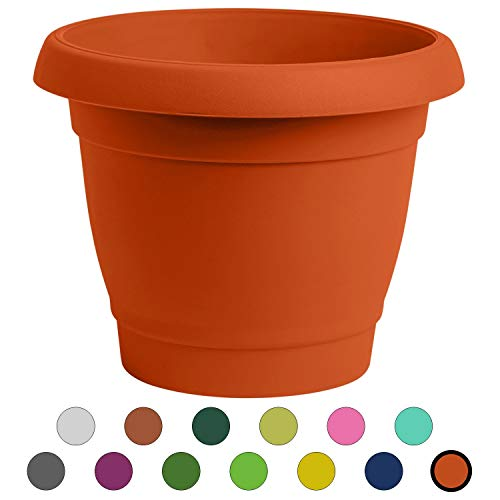 - ALMI Carmel Round Planter 9 Inch, Plastic Rounded Pot for Garden, Elegant Shaped Flower Tree, Tapered Planters for Plants, Small Trees, UV Resistant Paint, Indoor & Outdoor - Orange