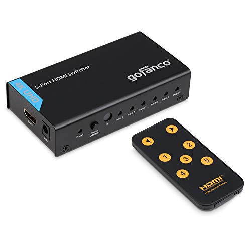 HDMI Switch 4K, gofanco 5 x 1 Powered HDMI Switch Supports up to Ultra HD 4k@30Hz with IR Remote Control and AC Power Adapter, Compliant with HDMI 1.4 HDCP 1.4, 5 Port 5 in 1 Out (Switcher5P) by gofanco (Image #7)