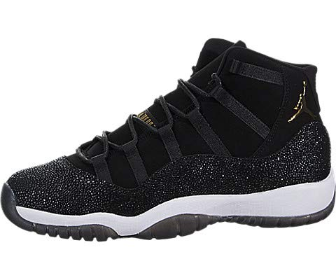 Jordan Retro 11 Premium Heiress Stingray Black/Metallic Gold-White (Big Kid) (Youth Size 4) (Girls Jordan For Black Shoes)