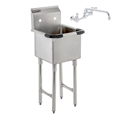 (DuraSteel Utility & Prep Sink - 1 Compartment Stainless Steel NSF Certified Easily Install - 15