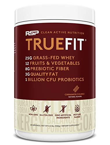 RSP TrueFit - Grass Fed Lean Meal Replacement Protein Shake, All Natural Whey Protein Powder with Fiber & Probiotics, Non-GMO, Gluten-Free & No Artificial Sweeteners, 2LB Churro (Packaging May Vary)...