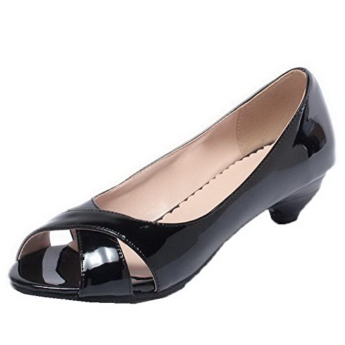 Patent Leather AalarDom Sandals On Womens Black Low Toe Solid Peep Pull Heels gnHnTF