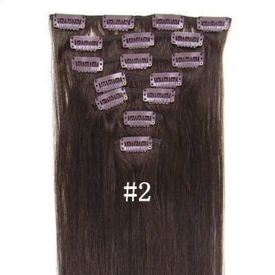 """Full Head 24"""" 26"""" 28"""" Straight Fashional 100g 160g Clips in 100% Remy Human Hair Extensions for Women Beauty Hot Sale (26inch   120g/7pcs, #2 dark brown)"""