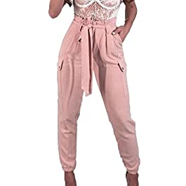2019 Women's Pants,Sexy High Waist Skinny Casual Trousers with Bow Tie Belt and Pocket by-NEWONESUN
