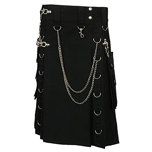 Black Fashion Gothic Kilt With Silver Chains (Belly Button 36) by Scottish Designer (Image #1)