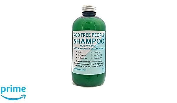 100% NATURAL - CHAMPÚ Con ACEITE DE RICINO, ARGAN Y EUCALIPTO - 250 ml - por POO FREE - Sin sulfatos, sin parabenos, sin productos químicos.