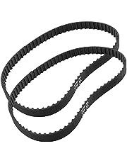 Qjaiune 2Pcs 150XL 037 Timing Belt 75 Teeth Black Cogged Rubber Geared Belt 10mm Cog Drive Belt (150XL037)