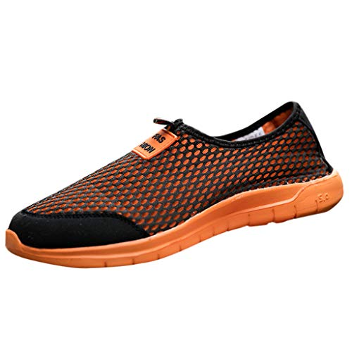 Bralonees Pair of Mesh Fabric Slip-On Sneaker Leisure Lightweight Breathable Shoes Casual Running Fitness Non-Slip Sport Orange ()