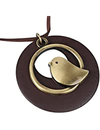 """Adorable Antique Bronze Baby Bird with Brown Wood Pendant Sweater Necklace Women Girls Clothing Accessories 16"""" Leather Chain"""