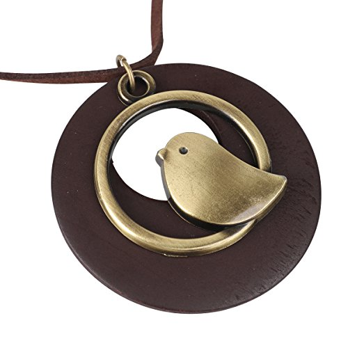 Collar Green Pendant - QIAONAI Wood Style Round Green Bird Pendant Handmade Nature Jewelry 39