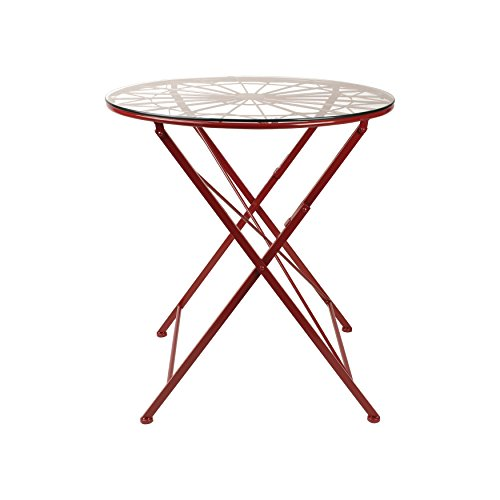 Kate and Laurel Kate & Laurel Thrapston Metal & Glass Round Dining Table, Red (Glass Top Pub Table Sets)