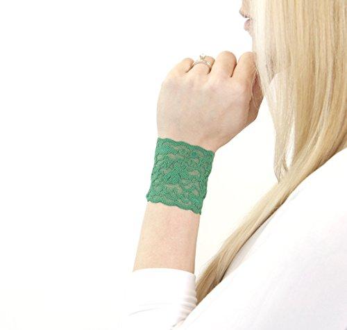 Short Lace Wrist Cuff Bracelet (Shamrock Green) Stretch for Women