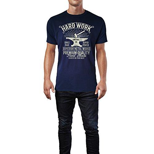 SINUS ART ® Hammer und Amboss im Vitage Stil – Hard Work Herren T-Shirts in Navy Blau Fun Shirt mit tollen Aufdruck