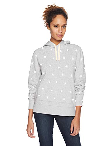 Amazon Essentials Women's French Terry Fleece Pullover Hoodie, Light Grey Heather Star, Large