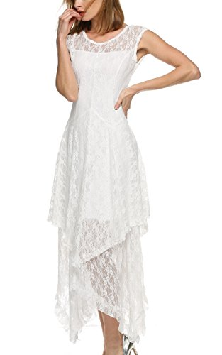 ACEVOG Women's Sexy Sleeveless Floral Lace Tiered Long Irregular Party Dress (L, White)