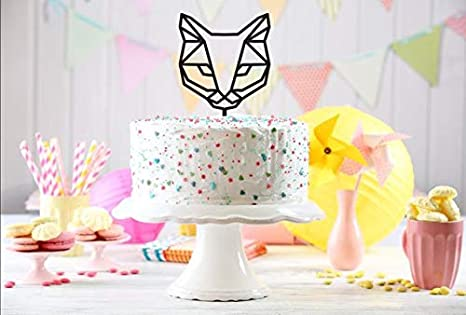 Amazing Geometric Cat Cake Topper Cake Topper Custom Cake Topper Kitty Funny Birthday Cards Online Alyptdamsfinfo