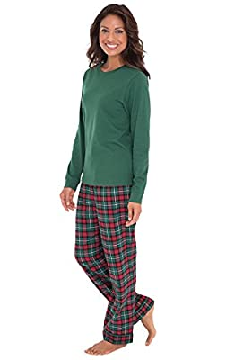 PajamaGram Soft Cotton Pullover Plaid Flannel Womens Pajamas With Long Sleeves
