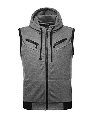 uxcell Men Full Zipper Two Pockets Drawstring Hooded Vest Gray S (US 34) ()