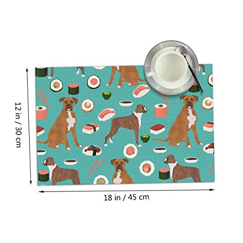 Coolfun Dog Boxer Sushi Chopsticks Cute Japanese Best Themed Print Pattern 4 Piece Set of Placemats Pc Party Kitchen Dining Room Home Table Place Mat Patio Holidays Decorations Decor - Placemat Retro Dog