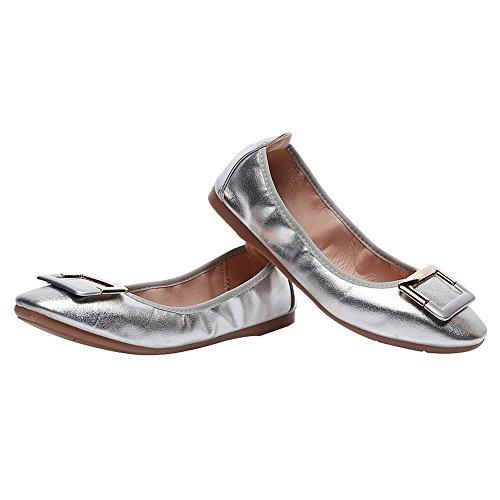 Cuadrada Hebilla Plano Mujer Ponerse Bailarinas Zapato Zapatillas rismart Plateado qw6Aaq