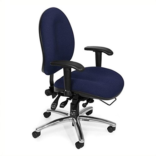 OFM 24 Hour Big and Tall Ergonomic Task Chair – Computer Desk Swivel Chair with Arms, Blue (247)