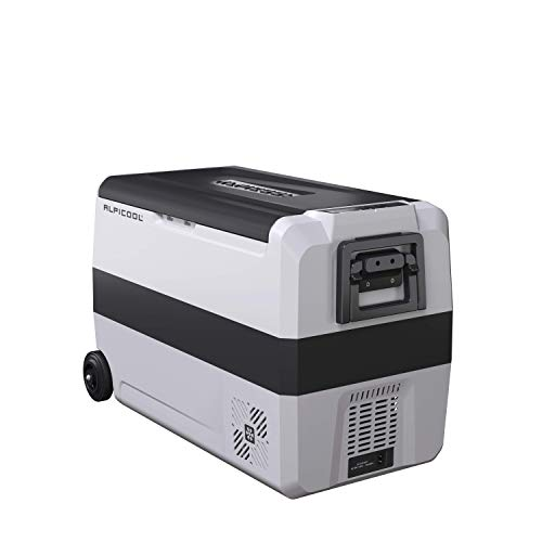 Alpicool Dual Temperature Control T50 Portable Refrigerator 53 Quart(50 Liter) Compact Fridge Mini Freezer for Travel,Camping,Fishing, Outdoor and Home use-12/24V DC and 110-240 AC (Outdoor Compact Refrigerator)