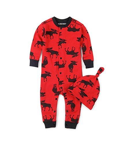 Little Blue House by Hatley baby-boys Moose Family Pajamas, Infant Romper & Cap - Moose On Red, 6-12 Months