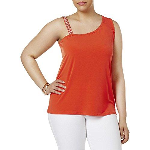 INC Womens Plus Tropic Heat Jeweled Sleeveless Blouse Orange 1X -