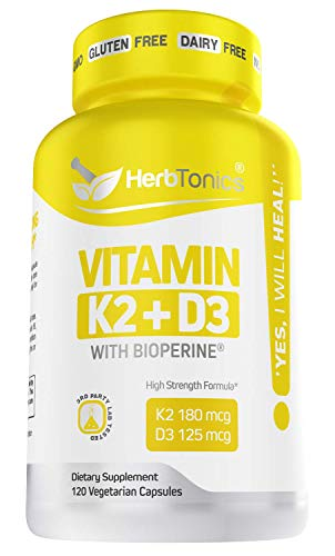 Immune System Support Vitamin K2 (MK7) with D3 5000 Iu Supplement with Bioperine (Black Pepper) 120 Vegetarian Capsules, Strong Bones and Heart Health -k2 d3 Complex- Tiny Easy to Swallow