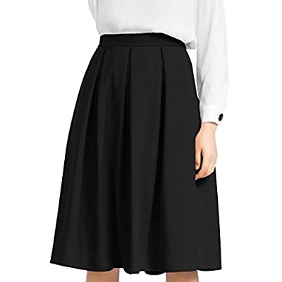 iYYVV Women High Waisted Pencil Flared Pleated Midi Below Knee Skirt with Pocket