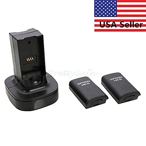 Phantomx Dual Battery Charger Charging Station Dock+2x Battery For Xbox 360 Controller AP - Duracell Quick Charger
