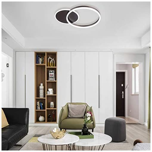 Interior Lighting Ganeed Flush Mount Ceiling Light,37W 2 Rings Modern LED Ceiling Light Fixture,6500K White Light Metal Acrylic Ceiling… modern ceiling light fixtures