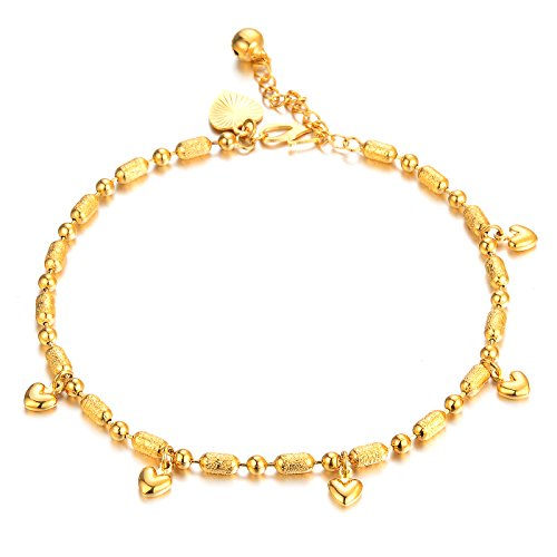 Womens Anklet Bracelet 18k Gold Plated Small Pure and Fresh and Contracted Pendants Foot Chain